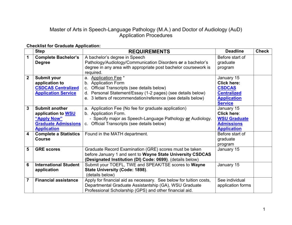 Checklist for Application Procedures: