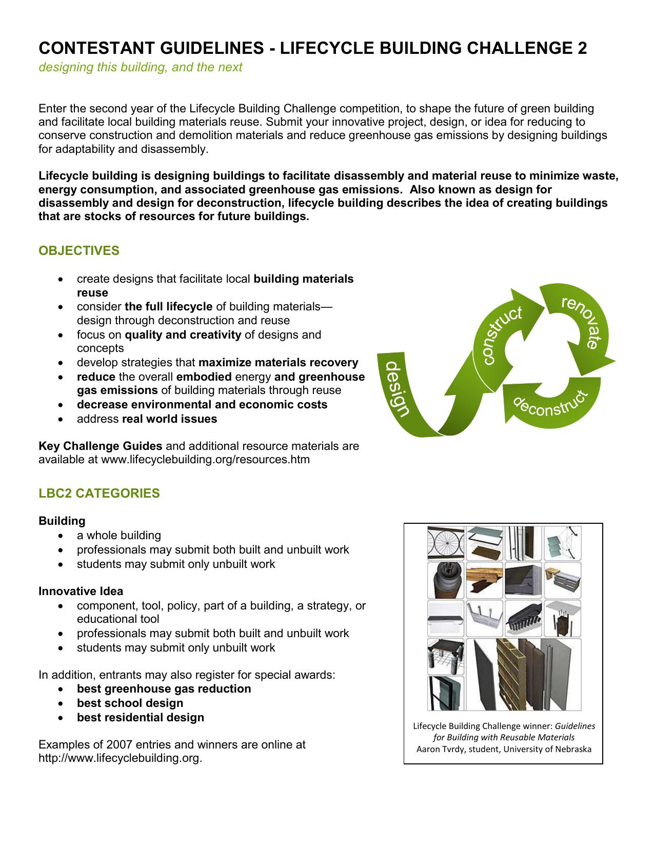 lbc2 categories - Lifecycle Building Challenge