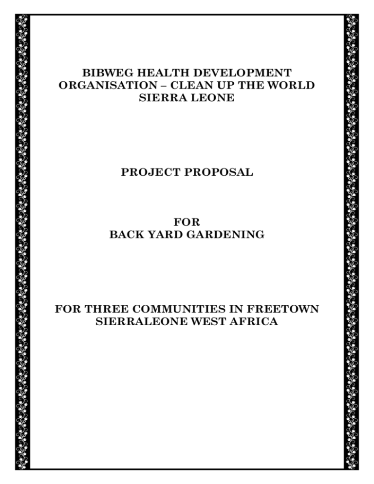 Bibweg Health Development Organisation, Backyard Vegetable Gardening Project Proposal