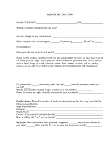 MEDICAL HISTORY FORM - Kenmore Family Medicine