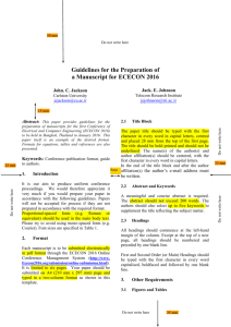 GUIDELINES FOR THE PREPARATION OF