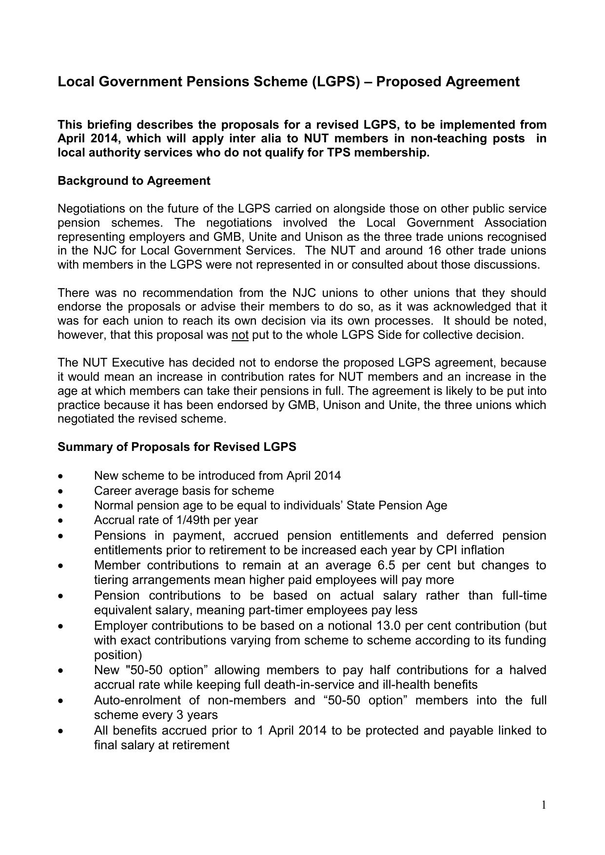 Local Government Pensions Scheme Lgps Proposed