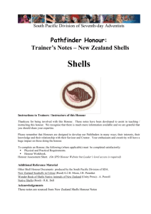 Notes on New Zealand Shells - Pathfinder Honours (South Pacific