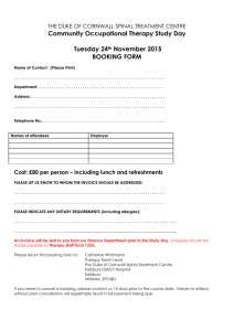a booking form - Duke of Cornwall Spinal Treatment Centre