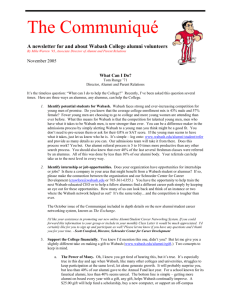 A newsletter for and about Wabash College alumni volunteers