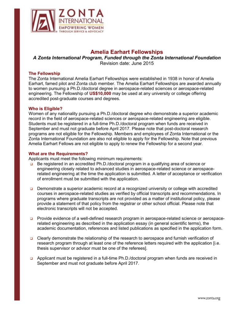 Amelia Earhart Fellowships A Zonta International Program Funded