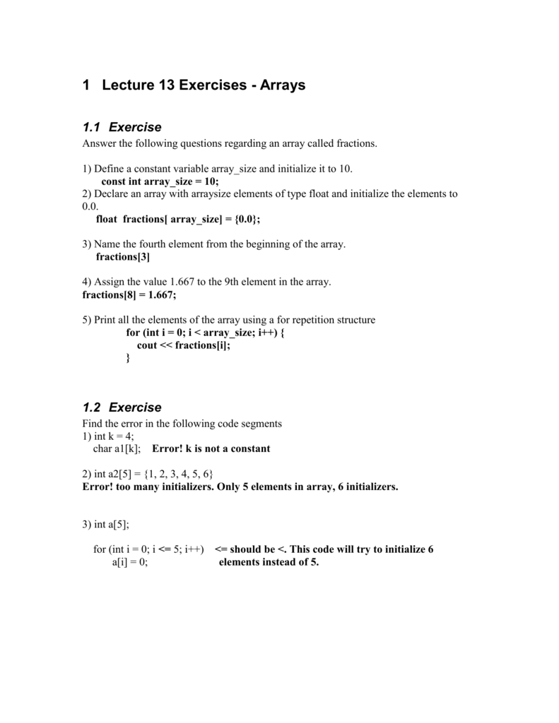 Lectures 13 Answers to Exercises  Microsoft Word format