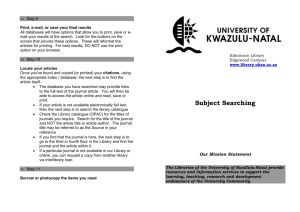 Subject searching - UKZN Library - University of KwaZulu