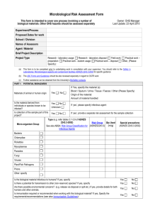 Microbiological Risk Assessment Form This form is intended to
