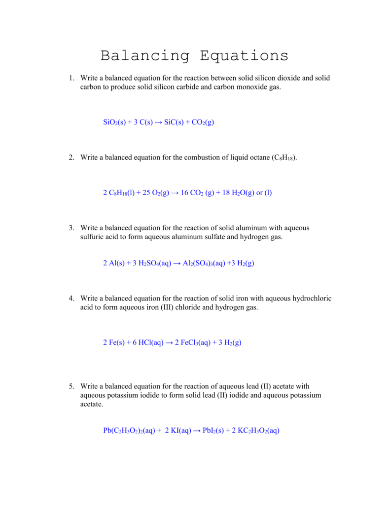 Balancing Equations: Worksheet Answers