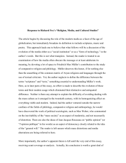 "Response to Richard Fox`s ""Religion, Media, and Cultural Studies"