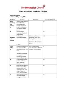 Person Specification - Manchester and Stockport Methodist District