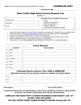 Klein Collins High School Course Request Sheet
