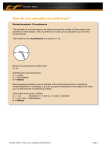 Complete this circumference activity sheet