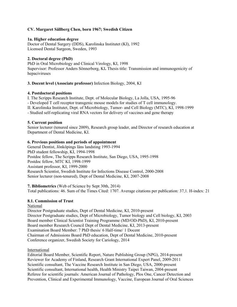 CV Margaret Sällberg Chen (application