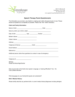 Speech Therapy Parent Questionnaire
