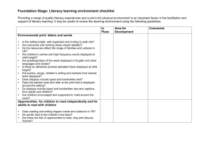 Foundation Stage: Literacy learning environment