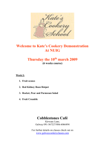 Recipes from Cookery Class 5th February 2009