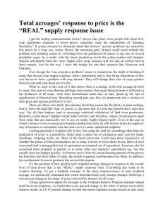 "Total acreages` response to price is the ""REAL"" supply response issue"