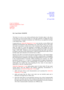 Court Order Notice of Objection