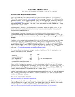 actuarial credentials - Carolina`s Actuarial Student Organization