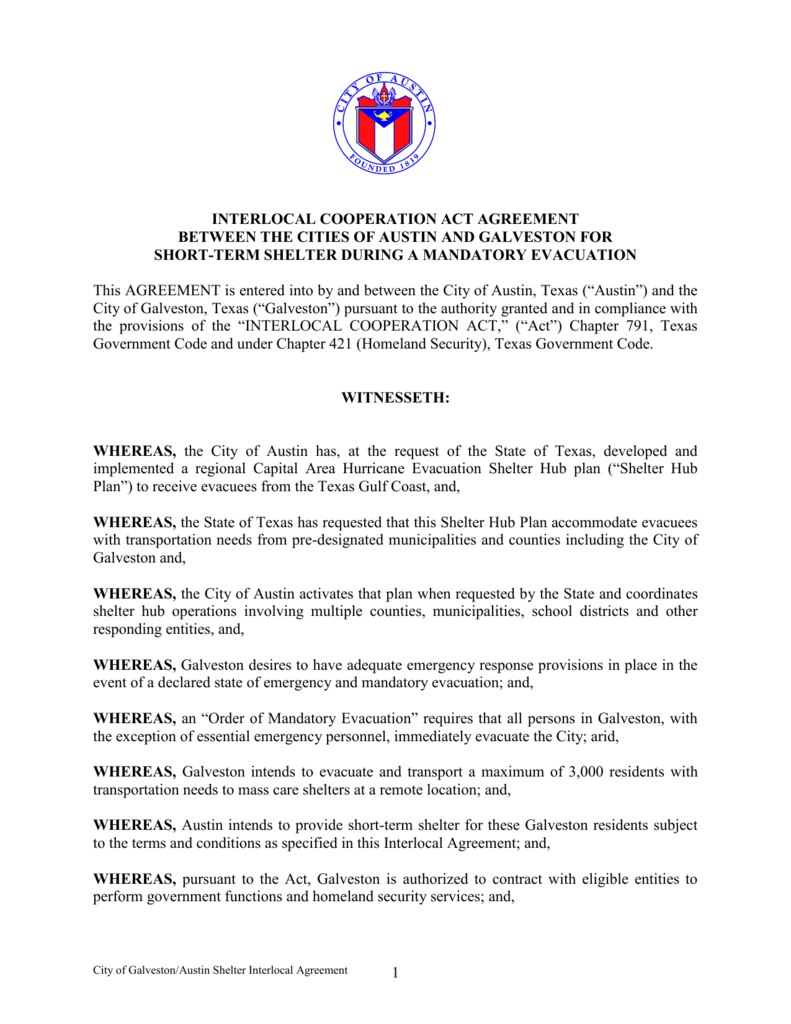 Interlocal Cooperation Agreement - Texas City Attorneys Association