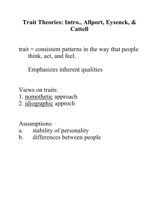Trait Theories: Allport, Eysenck, & Cattell