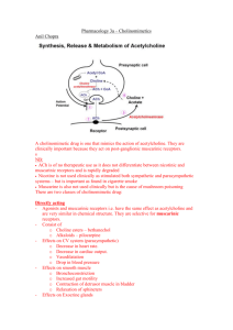 Pharmacology 3a – Cholinomimetics
