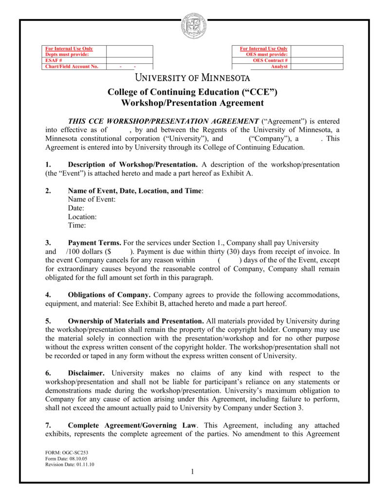 Cce Workshoppresentation Agreement