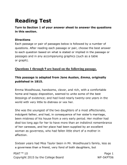 PSAT 10 Practice Test 1 for Assistive Technology * Reading Test