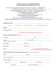 To submit this facility request form please email, fax or drop off – No