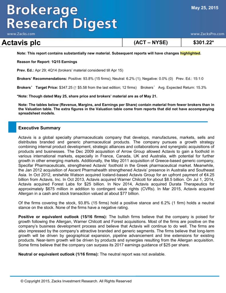 Actavis plc (ACT – NYSE) $301 22* Note: This report contains