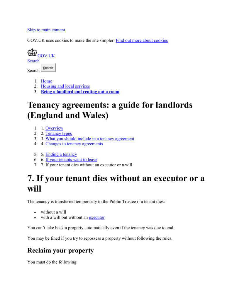 Tenancy Agreements A Guide For Landlords England And Wales