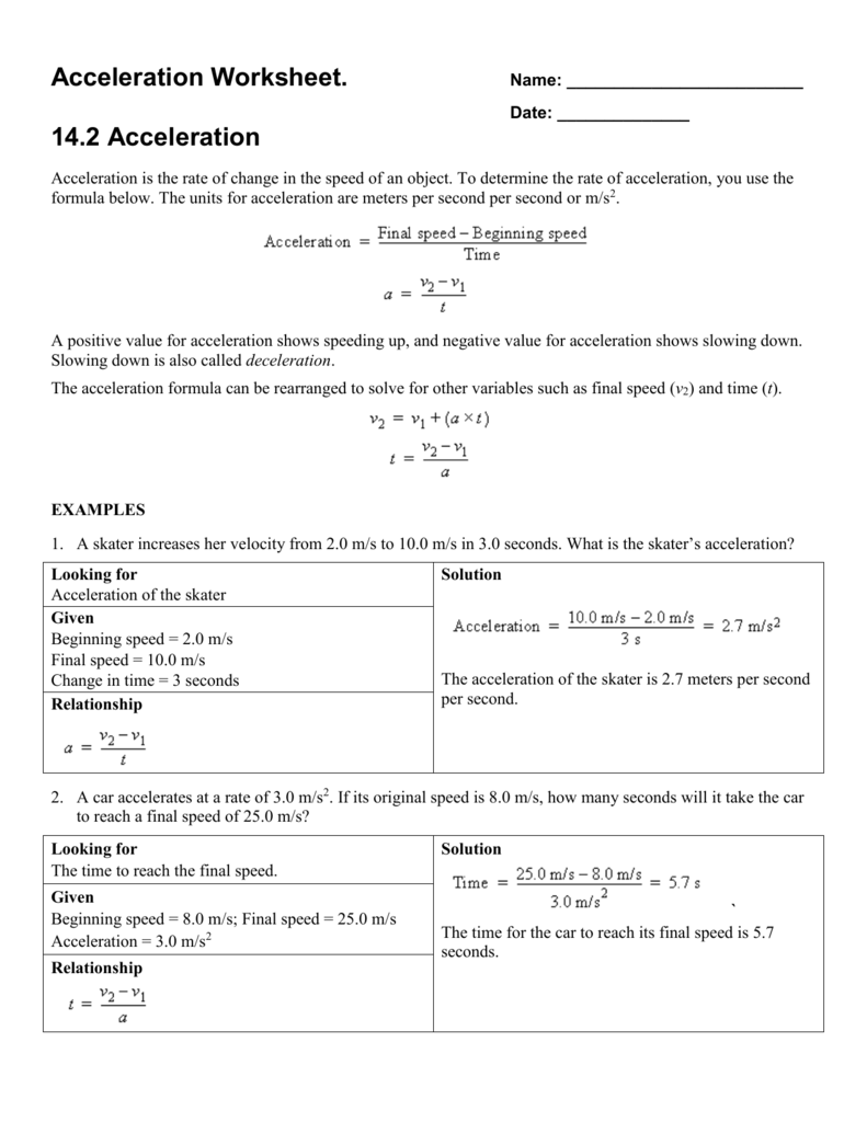 Acceleration Worksheet – Acceleration Worksheet