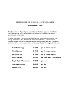 Fee Schedule - The Psychological Association of Manitoba