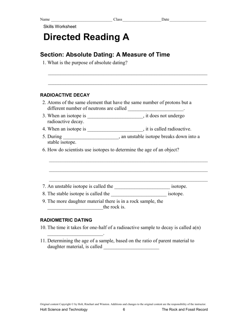 Explain radiometric dating fossils worksheet