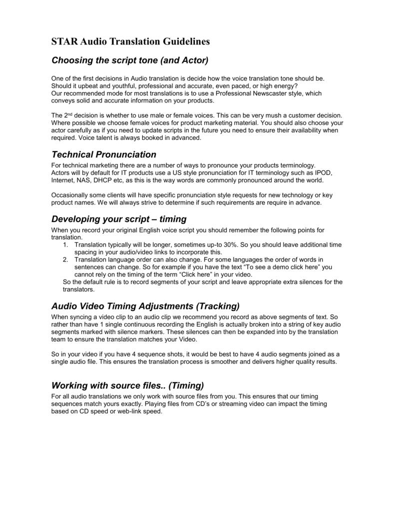 Audio Translation Guidelines