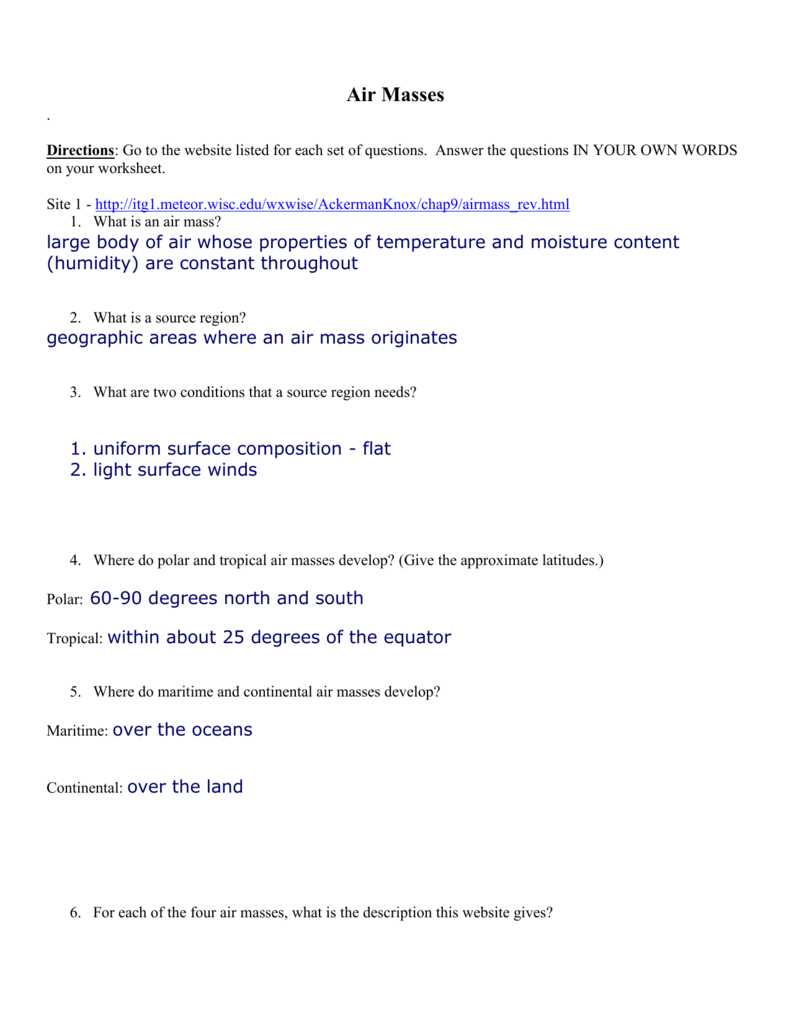 Worksheets Air Masses Worksheet air masses webquest key