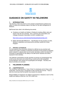 GUIDANCE OF SAFETY IN FIELDWORK