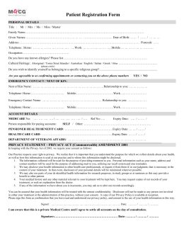 New Patient Form - Cowes Medical Centre