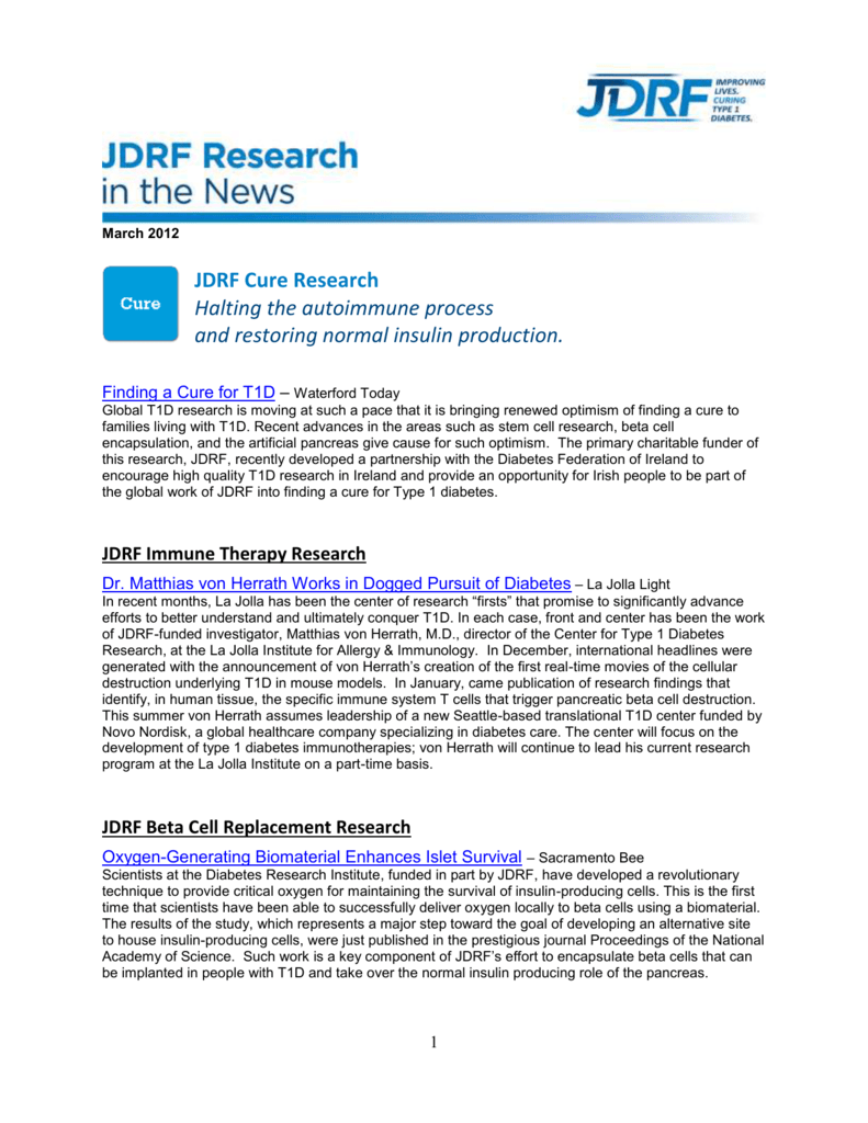 JDRF Cure Research – Halting the autoimmune process and