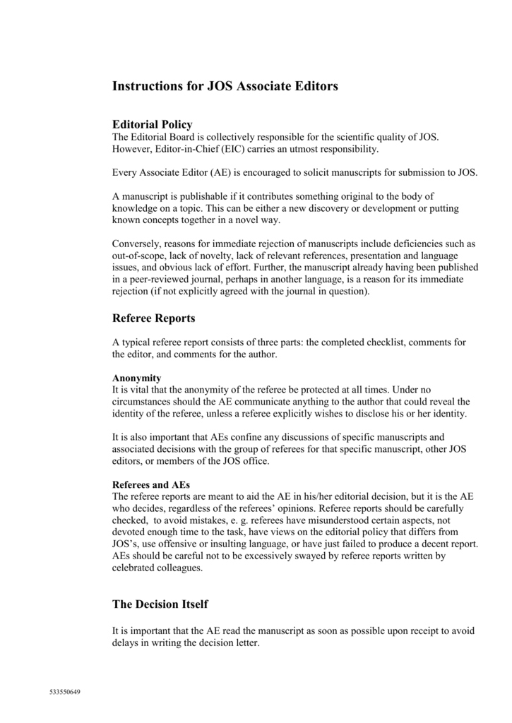 Instructions for JOS Associate Editors