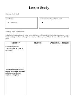 Co teaching observation checklist lesson study record form maxwellsz