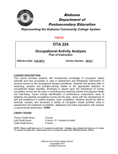 OTA 224 Occupational Activity Analysis