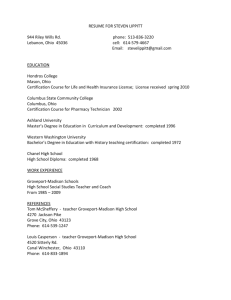 RESUME FOR STEVEN LIPPITT 944 Riley Wills Rd. phone: 513