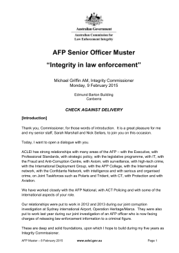 "AFP Senior Officer Muster—""Integrity in law enforcement""—9"