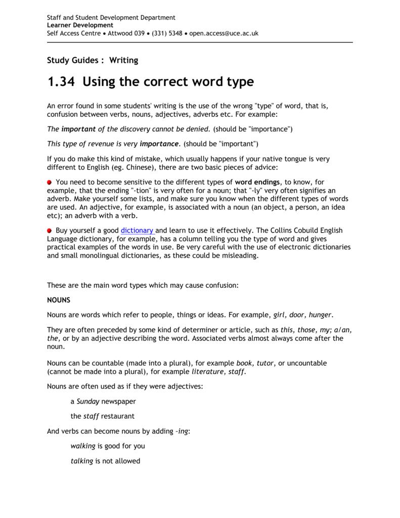 1 34 Word type