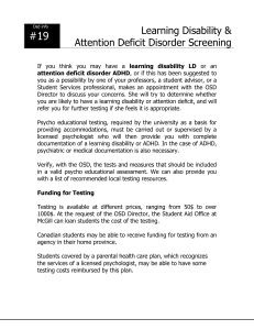 Attention Deficit Disorder Screening