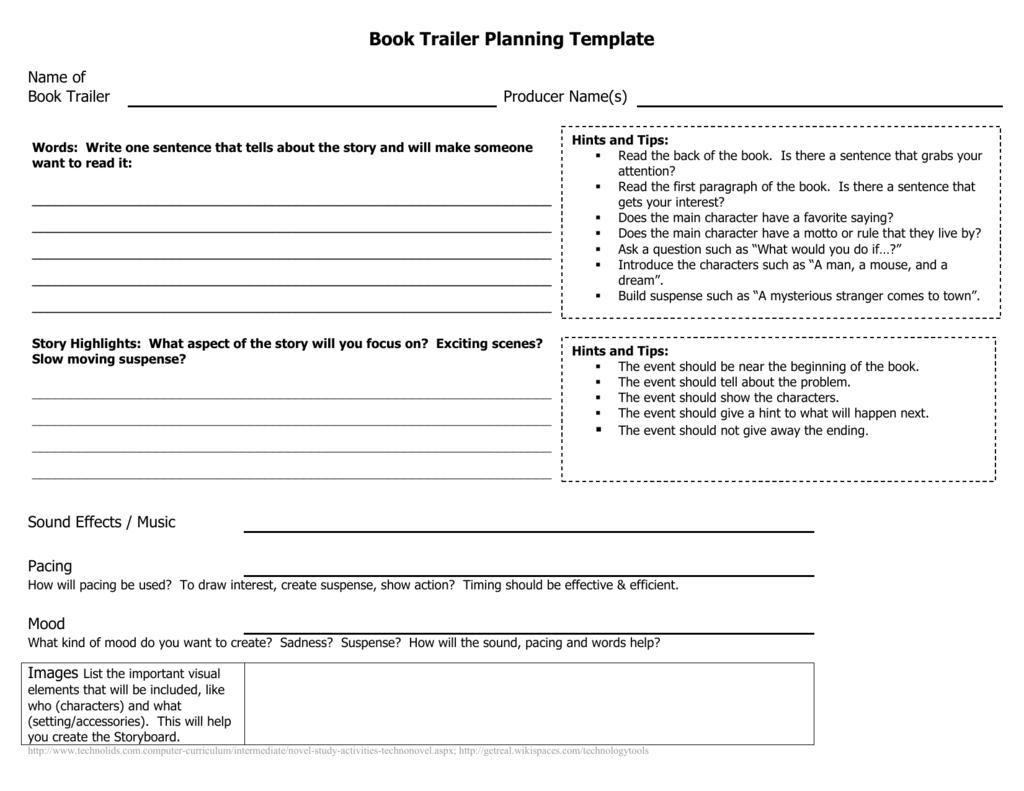Book Trailer Planning Template