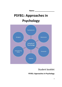 PSYB1 approaches in psychology essay planner